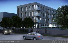 Czterokondygnacyjny budynek z dwupoziomowym parkingiem podziemnym w prestiżowej dzielnicy Warszawy. Projekt: lengiewicz-charkiewicz.com