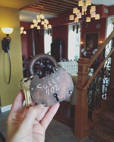 Rooms keys attached to an old lock. It's the little details like this that make a stay Jail Hill Inn extra special. #GetToGalena Galena, Illinois