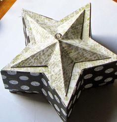 Anleitung für eine Stülpschachtel in Sternform und einem Deckel, der mit einem 3-D-Stern verziert ist.