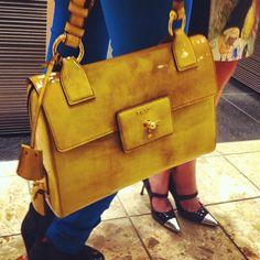 Around The Store: yellow patent Prada.