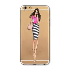 For iPhone 6 6S 5 5S SE 6Plus 6sPlus 4 4S Phone Case Cover Fashion Dress Shopping Girl Transparent Soft Silicon Mobile Phone Bag
