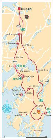 Turkart for biltur og fottur – Bergen, Fana, Os og Bjørnefjorden