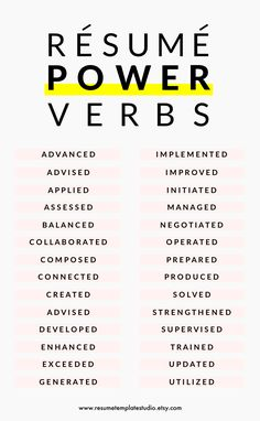 Resume power verbs a