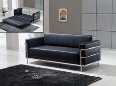 Le Corbusier Style - Black Leather Sofa Bed Sleeper