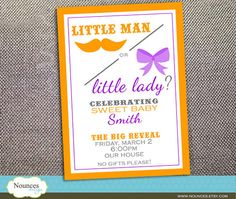 Another cute idea for a gender-reveal party! I especially like the menu consisting of the Mommy's cravings.