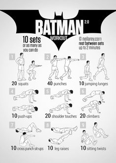 The Batman workout by Neila Rey inspired by Dark Knight movies, is a full-body circuit built on a set of nine basic exercises. The workout from Neila Rey has it… Batman Training, Hero Workouts, Fitness Workouts, Workout Routines, Pop Workouts, Workout Bodyweight, Movie Workouts, Neila Rey Workout, Hiit