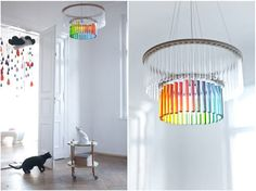Test tube chandeliers. They'd look great with some simple greenery: terrarium style!
