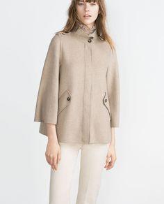 Image 1 of HANDMADE CAPE SLEEVE COAT from Zara