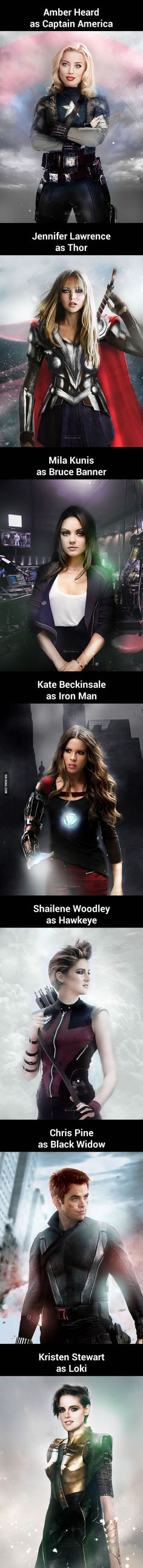 "Someone Swapped The Genders Of ""The Avengers"" And It's Perfect http://www.ezcosplay.com/movie-tv-costumes/movie-costume-hot-sales.html"