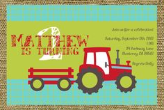 Tractor Birthday Invite by YankeeBabyDesigns on Etsy, $12.00