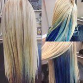 Blue highlights Peek a boo highlights blue hair mermaid hair blonde hair with bl… – hair color blonde Blonde Hair With Blue Highlights, Blue Ombre Hair, Colored Curly Hair, Hair Color Purple, Hair Color Highlights, Hair Color For Black Hair, Blonde Color, Hair Colors, Blonde And Blue Hair