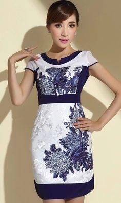 Modern White Brocade Navy Blue Chrysanthemum Print Reformed Cheongsam - iDreamMart.com