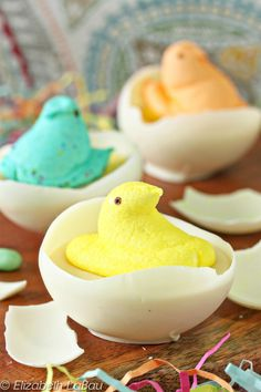 "Hatching Peeps - with real white chcolate ""egg shells"" 