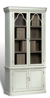 Alder Wood Arc Cabinet In Aged White/Antique Gray Finish New