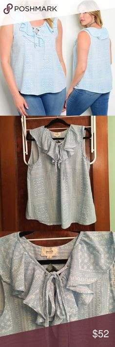 Ruffle Lace-Up Blouse This tank top is a nice polyester and spandex blend and is flowy. The light. Lie and white give a light feel as well. It does run small so size up (2x should get a 3x). Enjoy!! Blu Pepper Tops Blouses