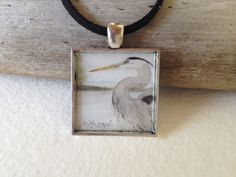 Heron Pendant with Watercolor Art Print by WildArtWatercolors