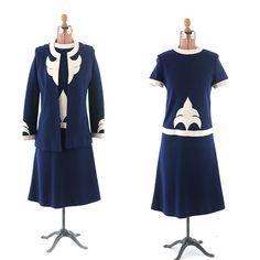 VINTAGE 60s LAURA APONTE Italian Knit Wool MOD Navy Deco DRESS + SWEATER Set M | eBay