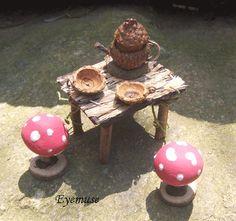 Fairy TEA TABLE Mushroom Chair Acorn Teapot Dollhouse Miniature Woodland Garden. $25.00, via Etsy. Gorgeous - check out store