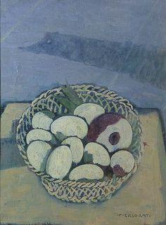Felice Casorati (Italian, 1883-1963), Rape e uova nel cestino, c.1942. Oil on canvas