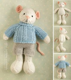 Toy knitting pattern for a boy mouse toy with a cabled sweater and shorts