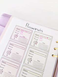 Items similar to Cute Printable Page - Printable Password Tracker (Work/Personal/Shopping) - Password Log- Password Keeper - Passwords- Password Organizer on Etsy - Cute Printable Page Printable Password by SweetestChelle - Bullet Journal Headers, Bullet Journal Monthly Spread, Bullet Journal 2019, Bullet Journal Notebook, Bullet Journal Themes, Bullet Journal Inspiration, Bullet Journals, Bullet Journal Spending Log, Bullet Journal Table Of Contents