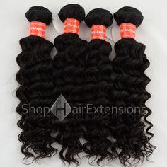 Unprocessed 4Pcs/Lot Same Length Natural Black (#1B) Virgin Malaysian Remy Hair Bundles Deep Curly 400g