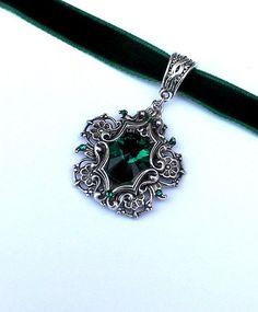 Items similar to Fantasy choker, swarovski choker, silver choker, victorian choker, green choker on Etsy Cute Jewelry, Jewelry Box, Jewelery, Jewelry Accessories, Fashion Accessories, Unique Jewelry, Bullet Jewelry, Fantasy Jewelry, Gothic Jewelry