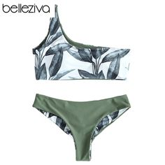 One Shoulder Leaves Print Bikini Sexy Bathing Suit Push Up Swimming Su – TopFashionova High Neck Bikini Set, Bandeau Bikini Set, Bikini Beach, Sexy Bikini, Bikini 2018, One Shoulder Bikini, Two Piece Swimsuits, Bra Styles, Bikini Fashion