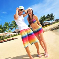 2013 New Fashion Beach Shorts For Women And Men Swimming Big Size Board Sports Shorts Male Loose Lovers Pantstraveling  $16.83 - 17.82