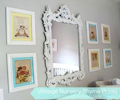 DIY Vintage Nursery Rhymes Framed Prints - Rain on a Tin Roof