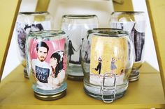 Pictures in mason jars to create a fun and unique way to display photos.