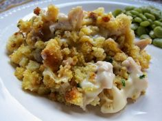 Cornbread Stuffing Chicken Casserole - I used StoveTop stuffing with chicken broth and no sour cream - it was awesome