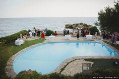 Destination wedding photos, big pool overlooking ocean, white tables Wedding Art, Summer Wedding, Wedding Photos, Destination Weddings, Real Weddings, White Tables, Big Pools, Summer Beach, Spain