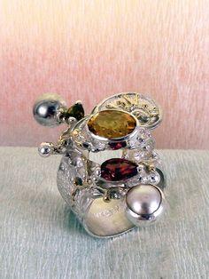 gregory pyra piro #smykkekunst #ring sterling #sølv og #guld med #ædelsten