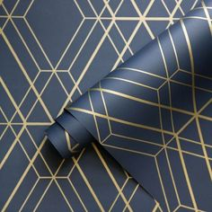Blue And Gold Living Room, Navy Living Rooms, Dining Rooms, Geometric Wallpaper Navy, Navy Wallpaper, Blue And Gold Wallpaper, Blue Wallpaper Bedroom, Wallpaper Borders, Paper Wallpaper