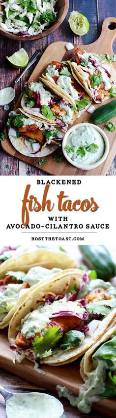Blackened fish tacos with avocado-cilantro sauce.  This recipe uses tilapia, but you can also try it with salmon, catfish, or whatever your heart desires! You can't go wrong.