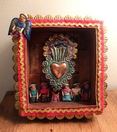Sacred Heart Folk Art Box Wall Hanging. From PonchoandMilly