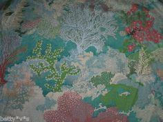 70s unusual sea coral garden, romantic landscape' fabric for quilting,crafts