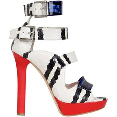 ALEXANDER MCQUEEN 130mm Snake Leather Sandals ($780) ❤ liked on Polyvore featuring shoes, sandals, heels, alexander mcqueen, multi, platform heel sandals, platform sandals, leather sole shoes, ankle strap sandals and ankle tie sandals