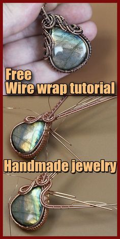 Wire wrap tutorials for beginners. Wire wrapping techniques. Free wire wrapping tutorials for beginners. How to start wire wrapping stones. Today we will create a pendant made of copper wire and labrador cabochon. We need the following items for work: Copper wire 1 mm thick – five pieces 40-50 cm long. Usually I use a longer wire length than is actually required. Diy Crafts Jewelry, Handmade Jewelry, Wire Wrapped Jewelry, Wire Jewelry, Wire Wrapping Tutorial, Woven Wrap, Wire Pendant, Wire Weaving, Jewelry Making Tutorials