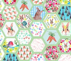 Hexagon Spring Bunny Quilt in watercolor  fabric by magentarosedesigns on Spoonflower - custom fabric