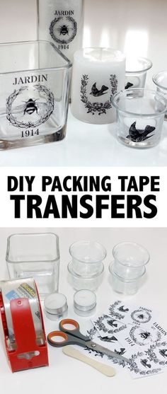 DIY Packing Tape Image Transfer Tutorial from The Graphics Fairy. This is a good tutorial on transferring images from laser or toner based prints to packing tape to candles/glass/etc… This is a very c projekte glas DIY Packing Tape Transfers! Diy Home Decor Projects, Diy Home Crafts, Diy Projects To Try, Crafts To Make, Fun Crafts, Paper Crafts, Arts And Crafts, Decor Crafts, Crafts For The Home