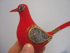 Red Glittered Vintage Christmas Bird by jessamyjay on Etsy