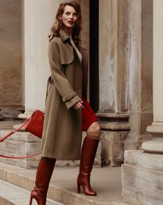 Tall Leather Boots, Tall Boots, High Heel Boots, Bootie Boots, Brown Leather, Style Magazin, Equestrian Boots, Raglan, Business Outfits