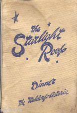 Vintage Original STARLIGHT ROOF DINNER Restaurant Menu WALDORF ASTORIA NY 1943