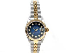18k Yellow Gold and Stainless Steel. Blue Vignette Diamond Dial. #79173