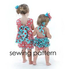 Ruffled Pinafore Sewing Pattern Baby Dress by littlelizardking