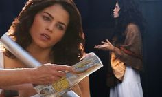Jenna Dewan looks angelic on-set of Witches Of East End
