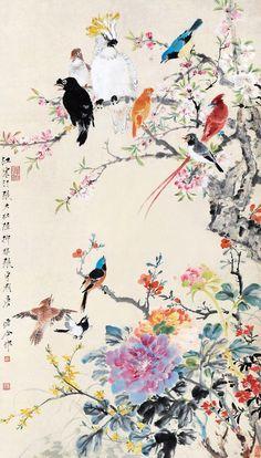 Message Japanese Artwork, Japanese Painting, Chinese Painting Flowers, Chinese Flowers, Peacock Wall Art, Art Japonais, Animes Wallpapers, Japan Art, Bird Art