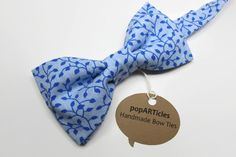 Blue Floral Bow Tie - Blue Bow Tie - Handmade Men's Pre-Tied Bow Tie - Cornflower Bow Tie - Baby Blue Bow Tie  - 10% off with promo code PIN10 - #popARTicles #bluebowtie #somethingblue #bluefloralbowtie